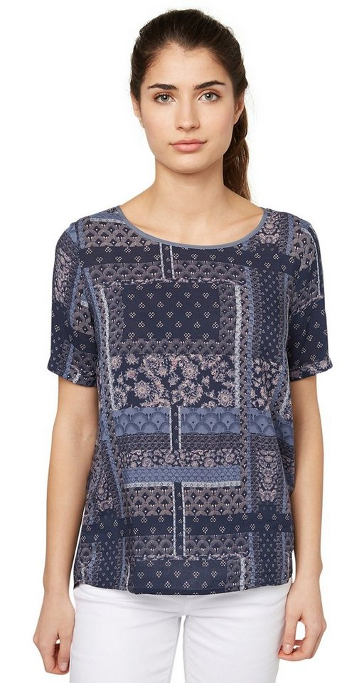 TOM TAILOR Bluse »sommerliche Print-Bluse« in real navy blue