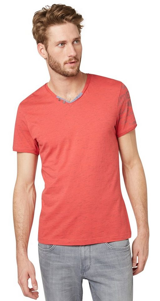 TOM TAILOR T-Shirt »T-Shirt mit Print am Arm« in normal red