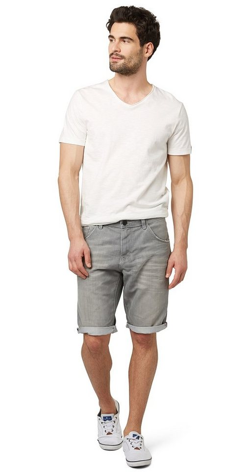 TOM TAILOR Shorts »Used-Jeans in Bermuda-Länge« in grey denim