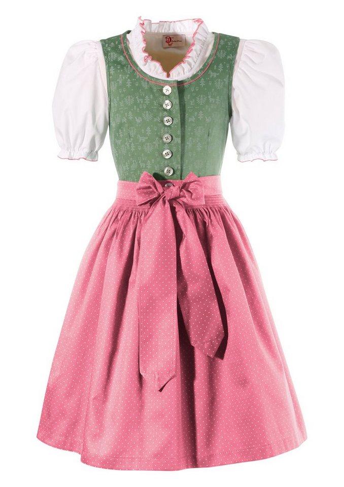 Dirndl Kinder im traditionellem Muster, Turi Landhaus (3tlg.) in grün/rosa