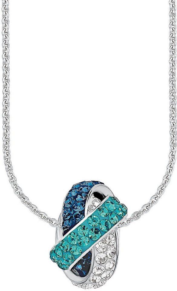 Amor Kette mit Anhänger, mit Swarovski® Kristallen, »E82/1« in Silber 925-blau-türkis