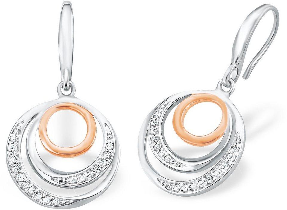 Amor Paar Ohrhaken mit Zirkonia, »E101/5« in Silber 925-teilw. roségoldfarben vergoldet