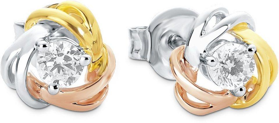 Amor Paar Ohrstecker mit Zirkonia, »E104/11« in Silber 925-teilw. roségoldfb. und goldfb. vergoldet