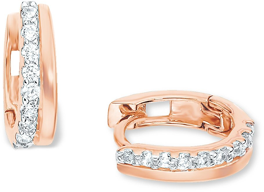 Amor Paar Creolen, »E93/11« in Silber 925-18 Karat roségoldfarben vergoldet