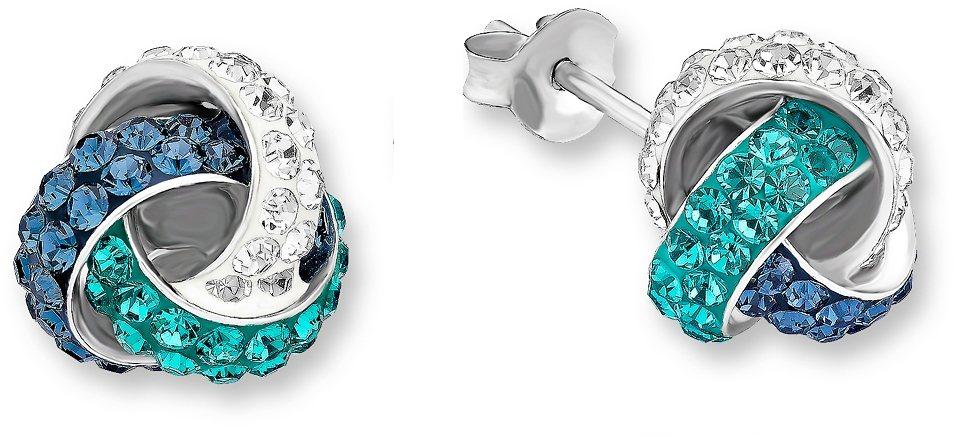 Amor Paar Ohrstecker, »E82/4« in Silber 925-blau-türkis
