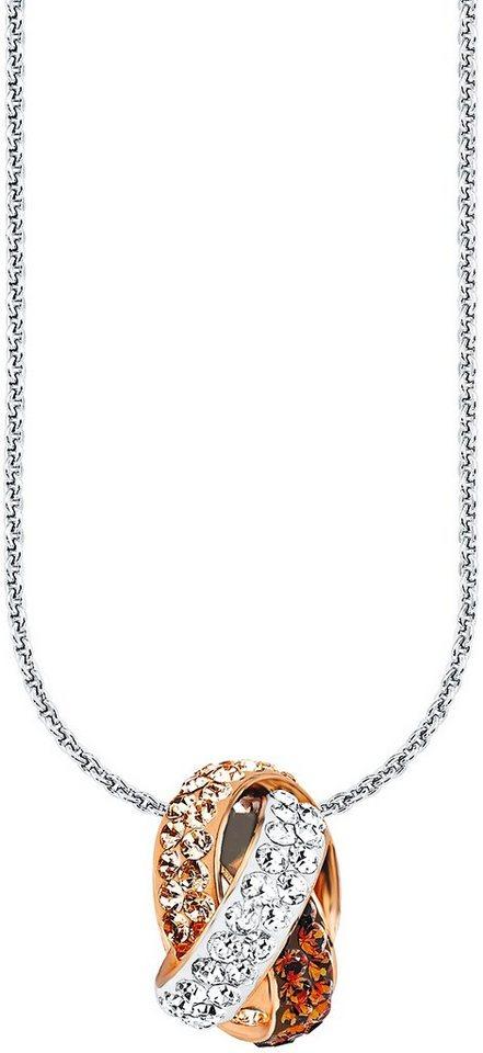 Amor Kette mit Anhänger, mit Swarovski® Kristallen, »E89/1« in Silber 925- teilw. roségoldfarben vergoldet