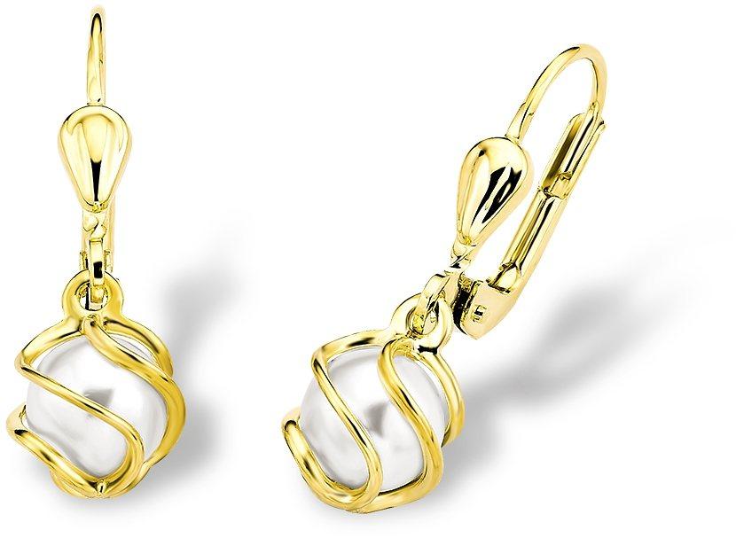 Amor Paar Ohrhänger mit Wachsperlen, »L81/3« in Gelbgold 333-weiß