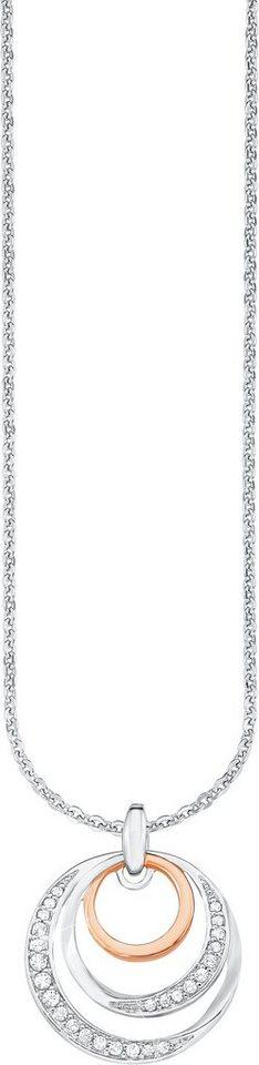 Amor Kette mit Anhänger, mit Zirkonia, »E101/2« in Silber 925-teilw. roségoldfarben vergoldet