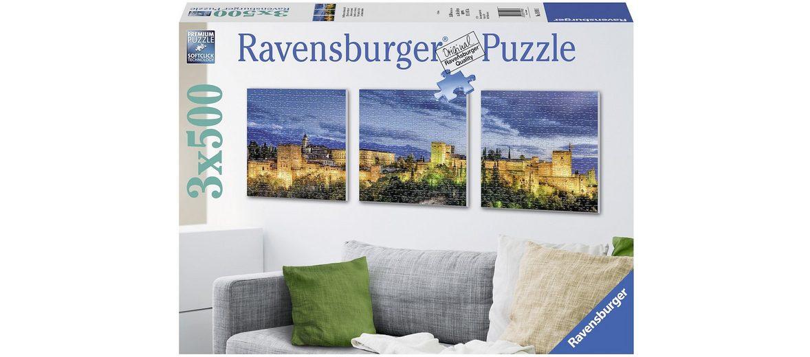 Ravensburger Triptychon Puzzle, 3x500 Teile, »Die Alhambra im Dämmerlicht«