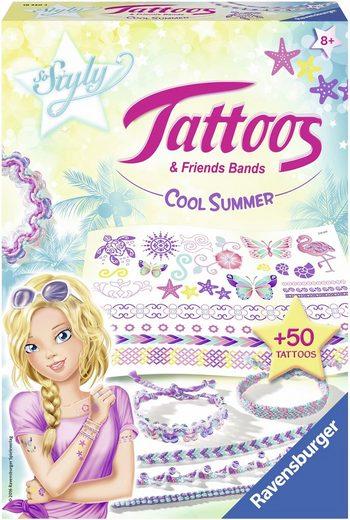 Ravensburger Kreativset »So Styly Tattoos & Friends Bands Cool Summer«, (Set), Armbänder im Makramee-Stil