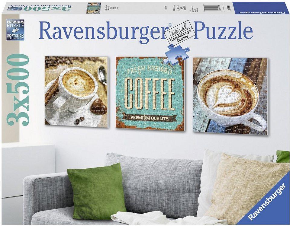 Ravensburger Triptychon Puzzle, 3x500 Teile, »Dreifacher Kaffeegenuss«