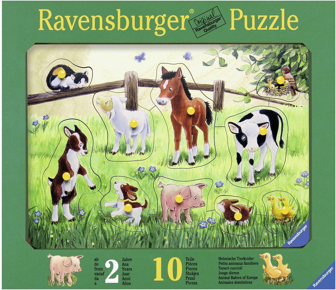 Ravensburger Kinderpuzzle aus Holz, 10 Teile, »Heimische Tierkinder«
