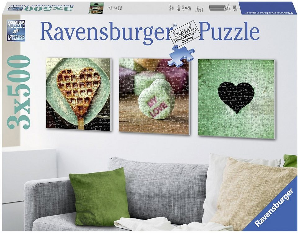 Ravensburger Triptychon Puzzle, 3x500 Teile, »Herzenslust«