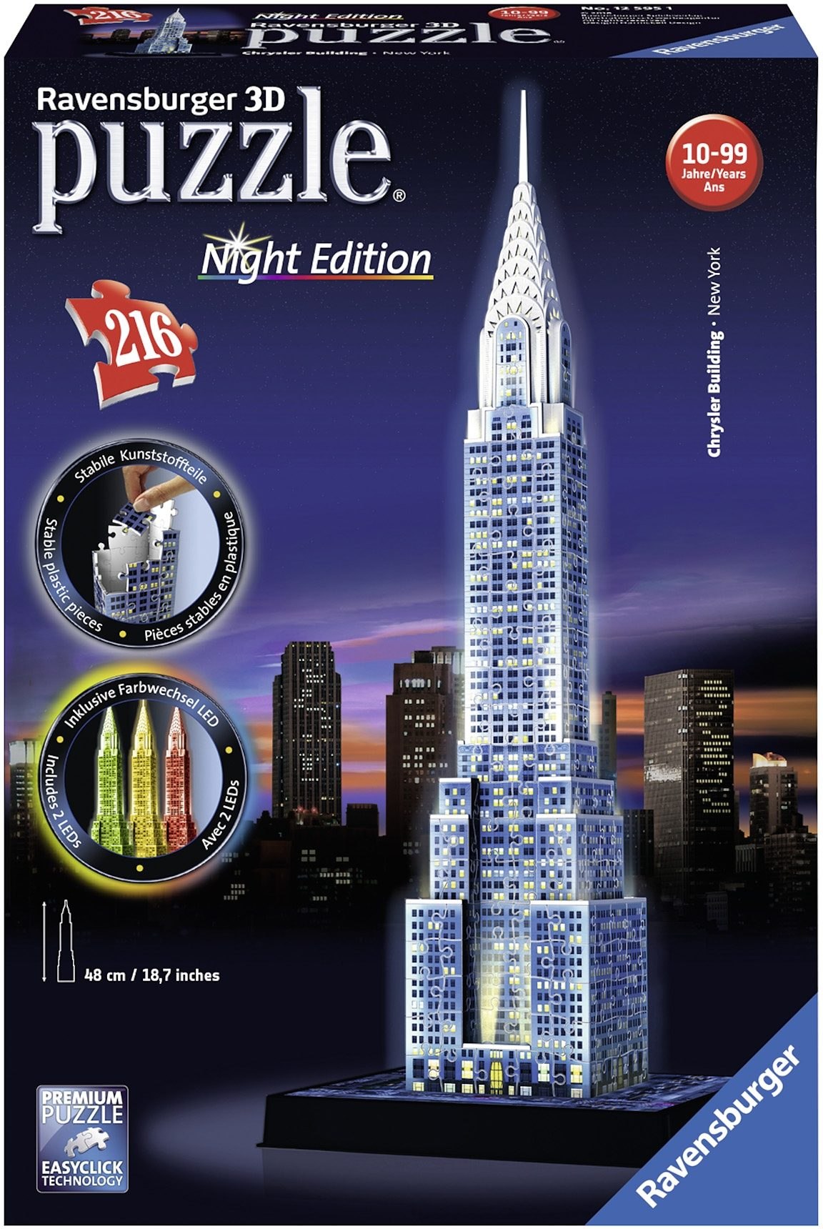 Ravensburger 3D Puzzle, 216 Teile, »Night Edition Chrysler Building«
