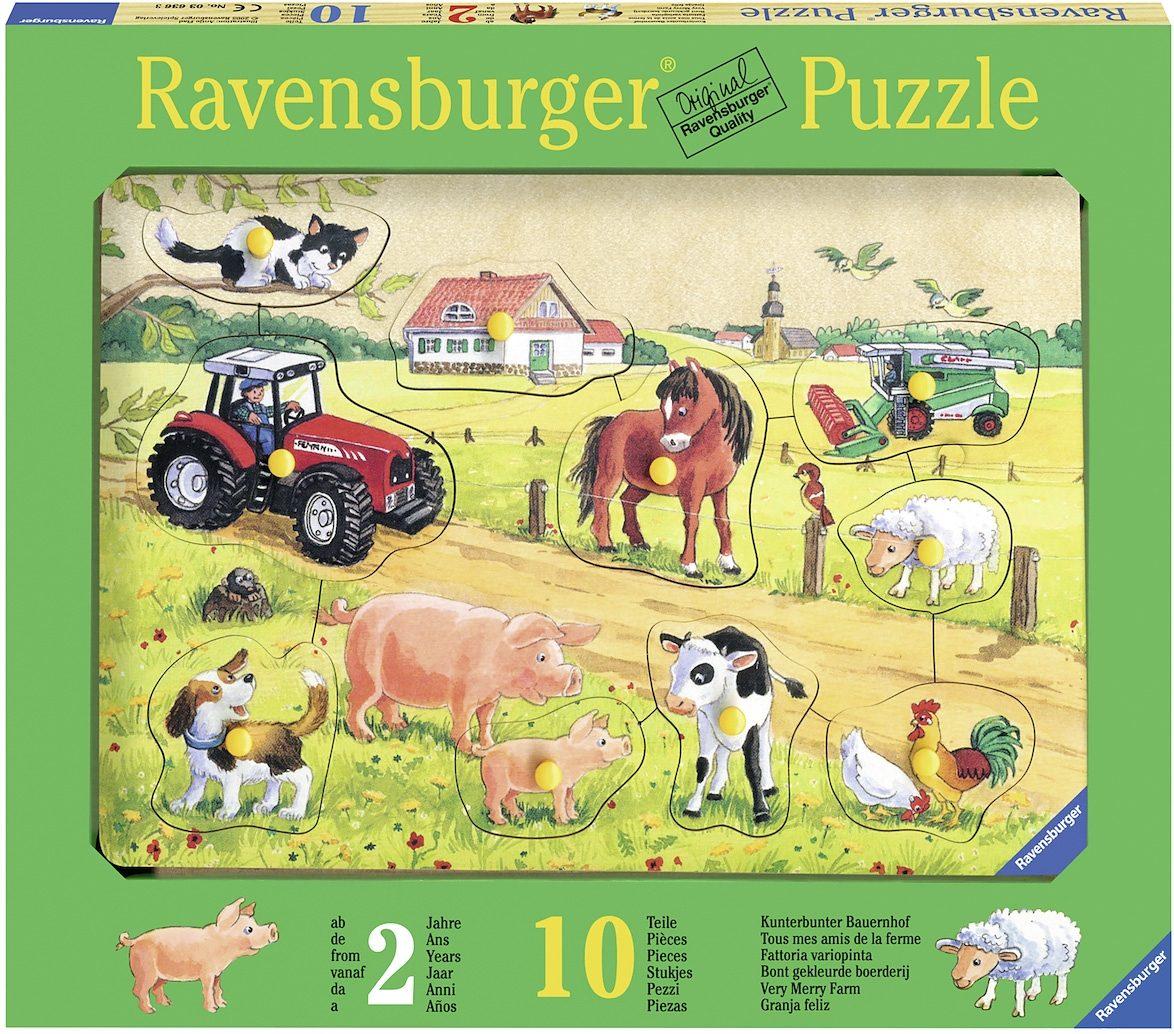 Ravensburger Kinderpuzzle aus Holz, 10 Teile, »Kunterbunter Bauernhof«