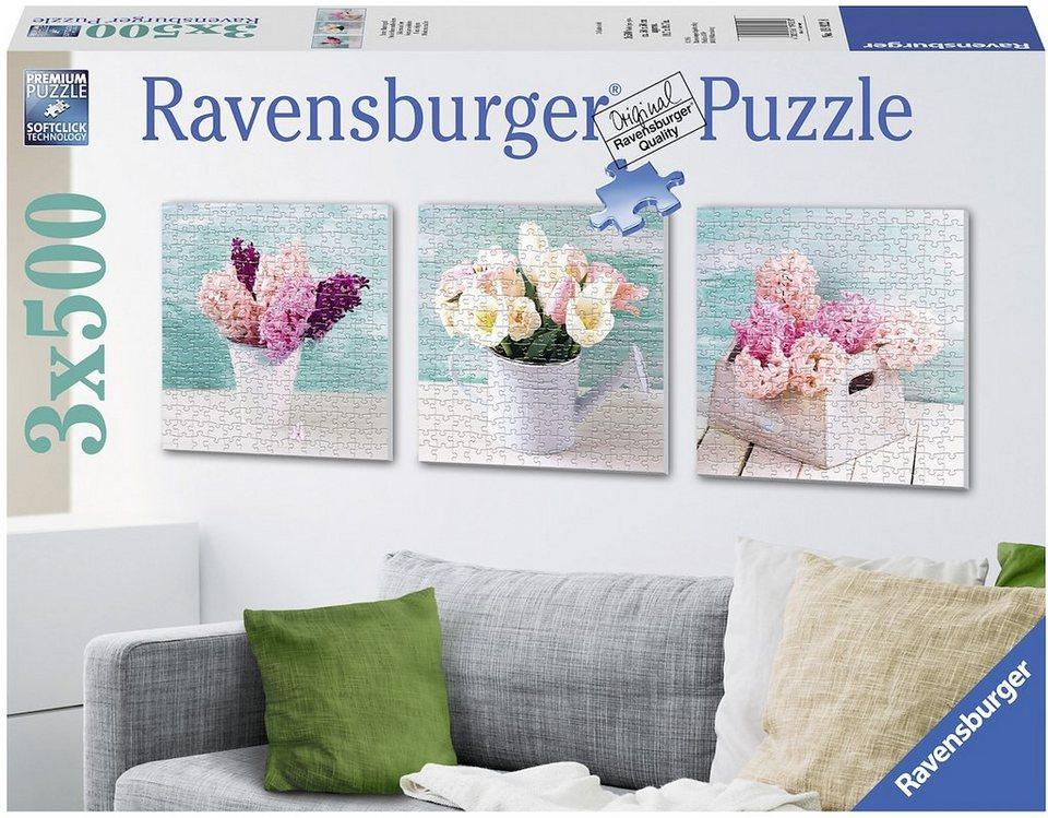 Ravensburger Triptychon Puzzle, 3x500 Teile, »Bunter Blumengruß«