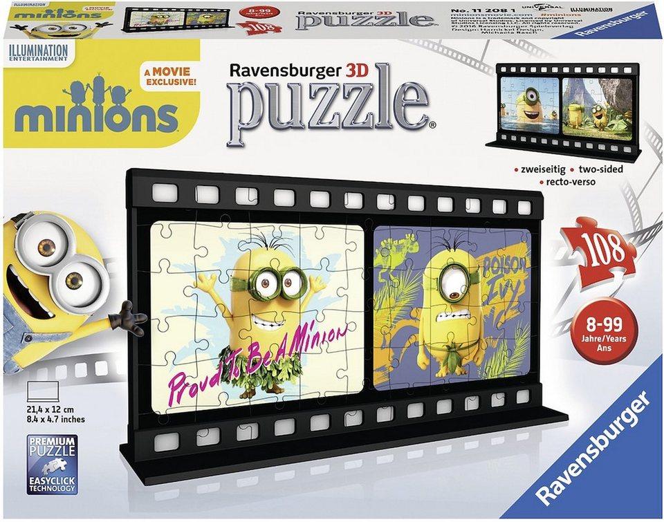 Ravensburger 3D Puzzle, 108 Teile, »Filmstreifen Minions Natural«