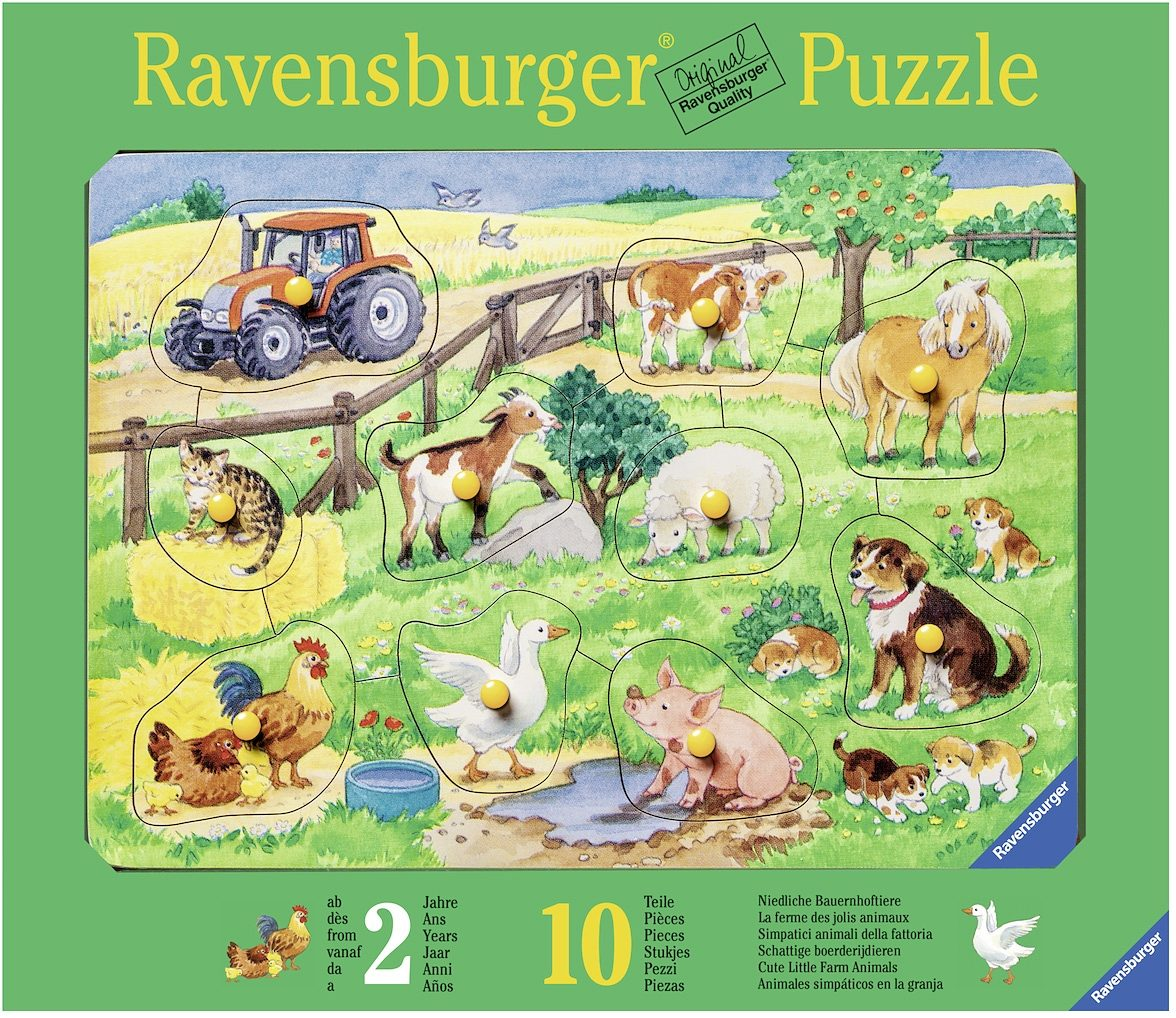 Ravensburger Kinderpuzzle aus Holz, 10 Teile, »Niedliche Bauernhoftiere«