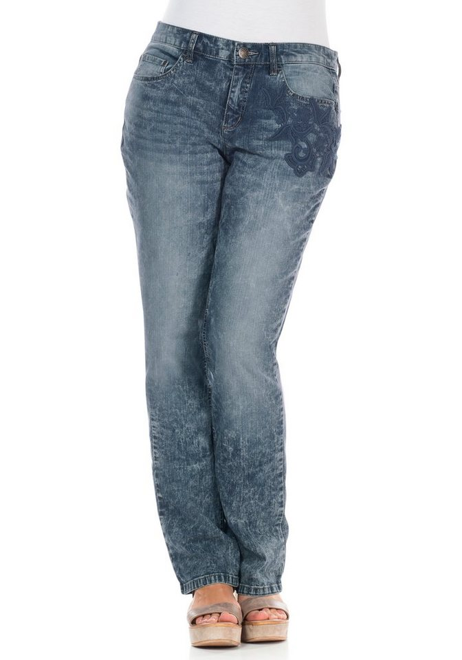 sheego Denim Gerade Stretch-Jeans in blue Denim
