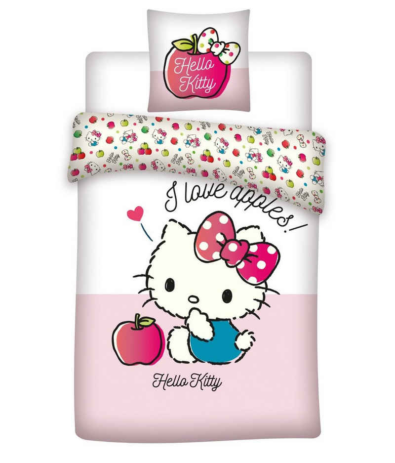 Babybettwäsche »Love Apples«, Hello Kitty, 100x135 40x60 cm, 100% Baumwolle