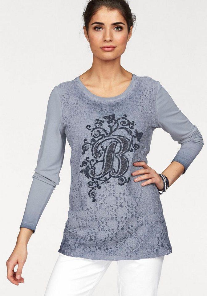Boysen's Langarmshirt in Used-Färbung mit hochwertiger Spitze in hellblau
