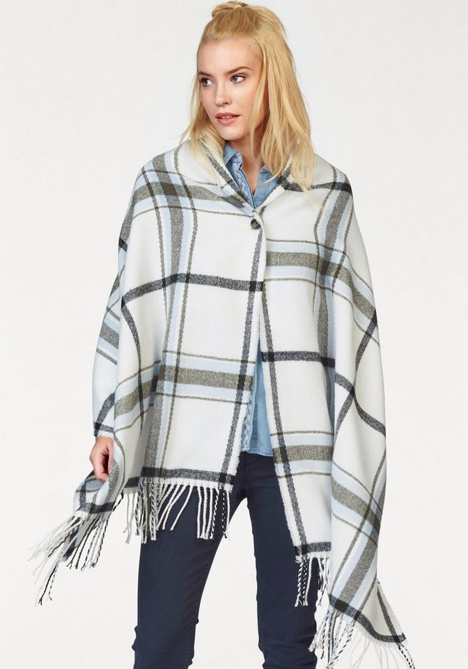 s.Oliver RED LABEL Poncho im Karo-Muster in weiß