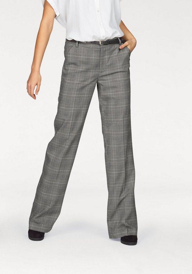 Boysen's Bügelfaltenhose mit feinem Karo-Muster in grau-kariert