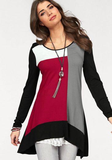 Boysen's Vokuhila-Shirt im Colour-Block-Design