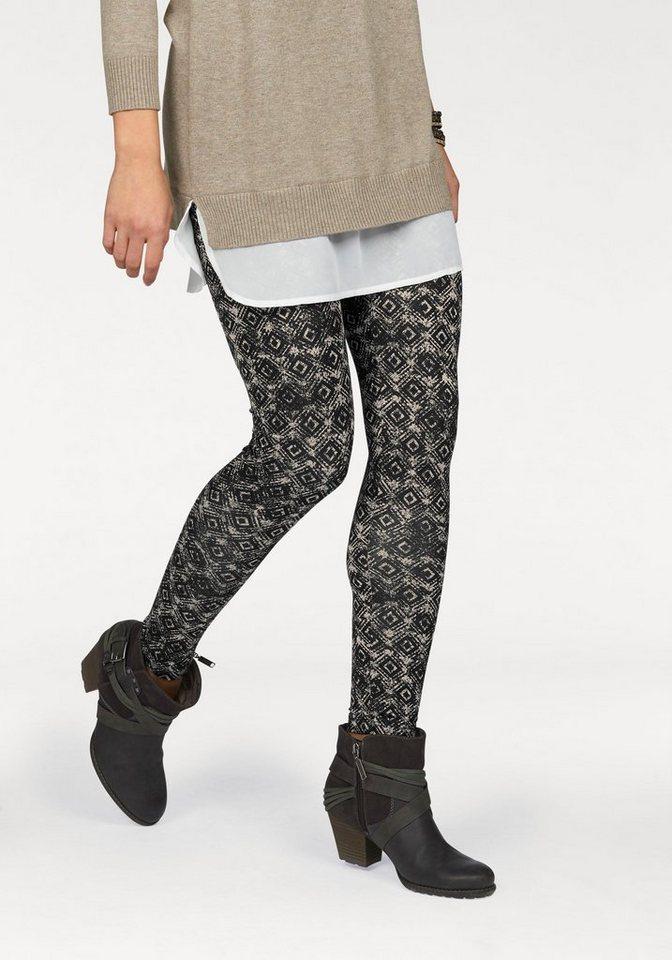 Boysen's Leggings mit Alloverdruck in schwarz-beige