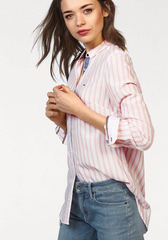 Hilfiger Denim Hemdbluse im klassischem Streifendessin in weiß-rosé-gestreift