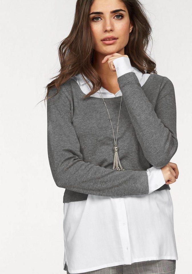 Boysen's 2-in-1-Shirt mit Bluseneinsatz im Layer-Look in grau-weiß