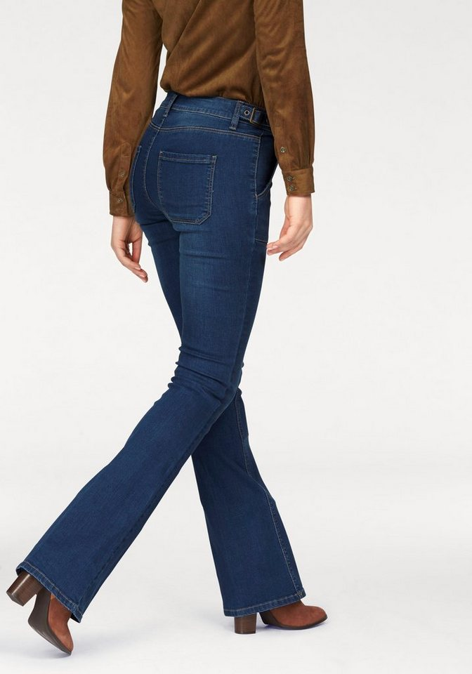 Arizona Bootcut-Jeans »mit seitlich verstellbarem Riegel« High Waist in darkblue-used