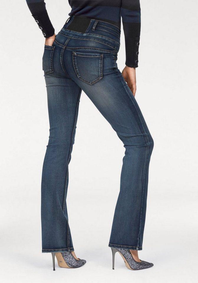 Arizona Bootcut-Jeans mit Gummizug-Einsatz in mid-blue-used