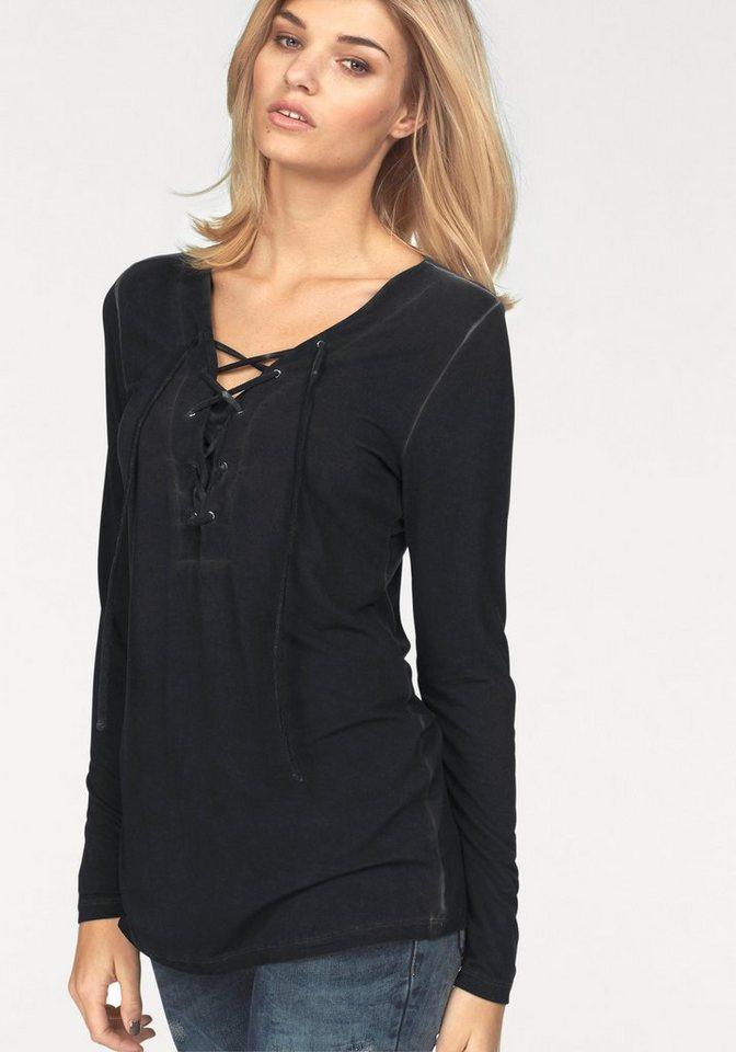 Laura Scott Langarmshirt mit Ösen und Schnürung in schwarz