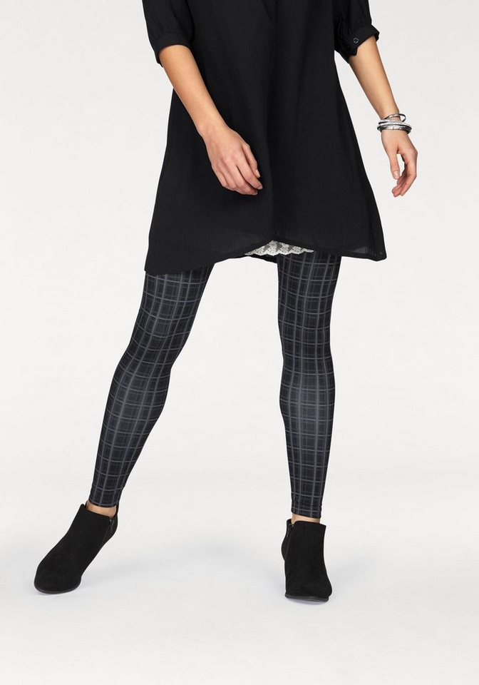 Boysen's Leggings mit trendigem Karo-Muster in schwarz-grau-kariert