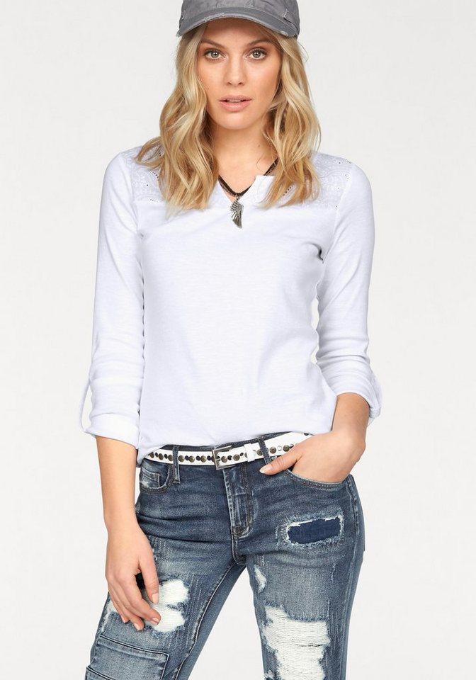 Boysen's Langarmshirt mit besticktem Einsatz in weiß