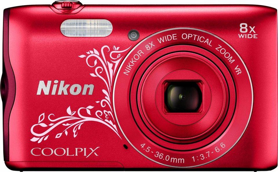 Nikon Coolpix A300 Kompakt Kamera, 20,1 Megapixel, 8x opt. Zoom, 6,7 cm (2,7 Zoll) Display in rot/weiß