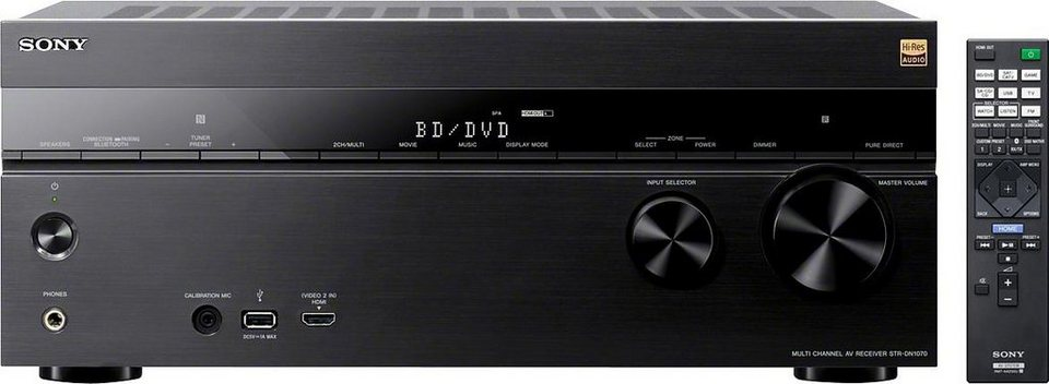 Sony STR-DN1070 AV-Receiver, Hi-Res, 4K, Multiroom, Airplay, DSD, WLAN, Bluetooth, NFC in schwarz