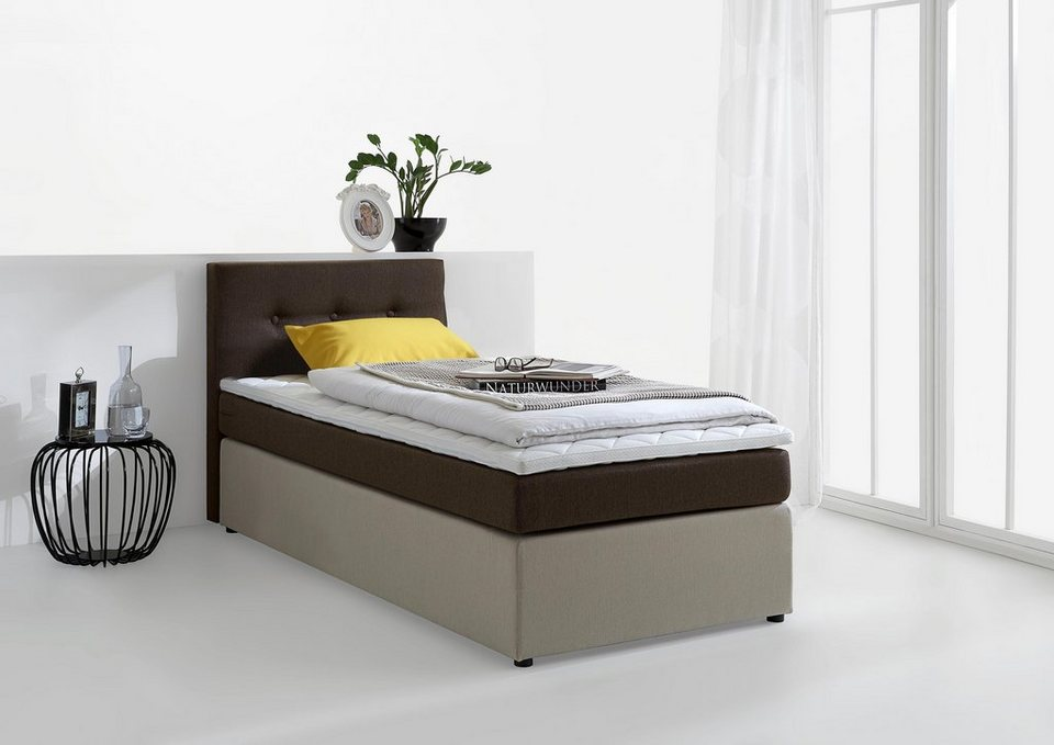 Boxspringbett inkl. Topper, Atlantic Home Collection in braun-beige
