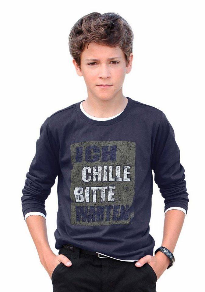 """Arizona Langarmshirt """"ICH CHILLE BITTE WARTEN"""" in blau"""