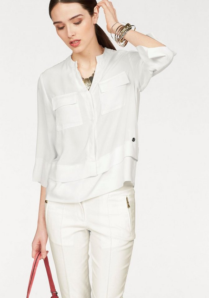 Bruno Banani Chiffonbluse im Lagen-Look in offwhite