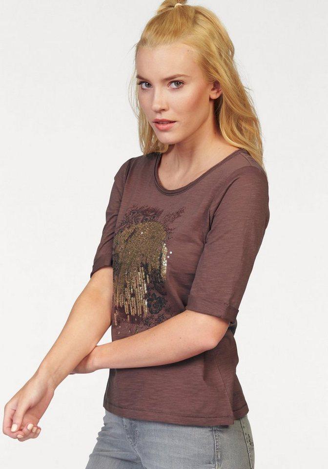 Tom Tailor Rundhalsshirt mit Pailetten in mauve-bestickt-bedruckt
