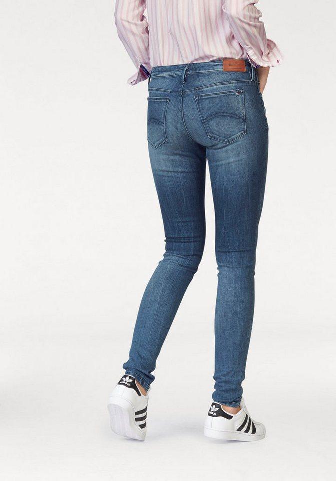 Hilfiger Denim Skinny-fit-Jeans »Nora« mit kontrastfarbenen Crinklestreifen in fresh-blue