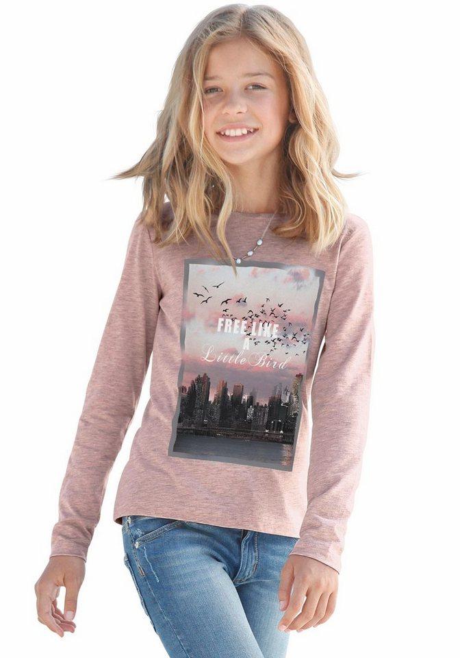 Buffalo Langarmshirt mit Fotodruck, für Mädchen in rosa-meliert