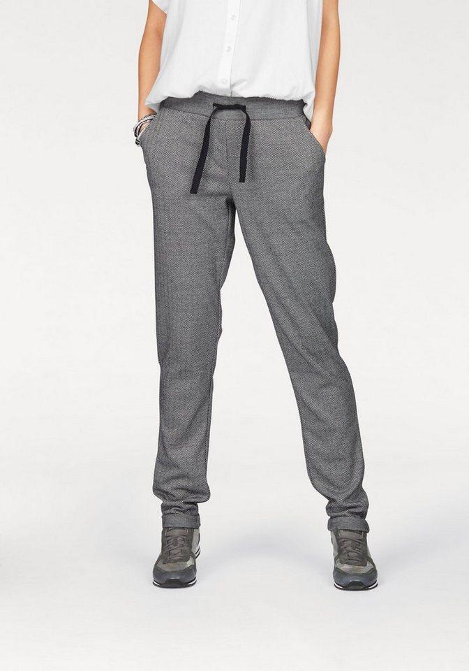 Boysen's Wirkhose Jogg-Pants mit feinem Fischgratmuster in grau-gemustert