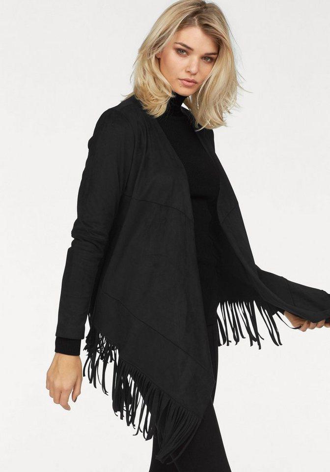 Laura Scott Lederimitatjacke in Velourslederoptik mit Fransensaum in schwarz