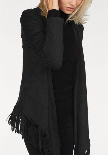 Laura Scott Faux Leather Jacket In Suede Optics With Fringe