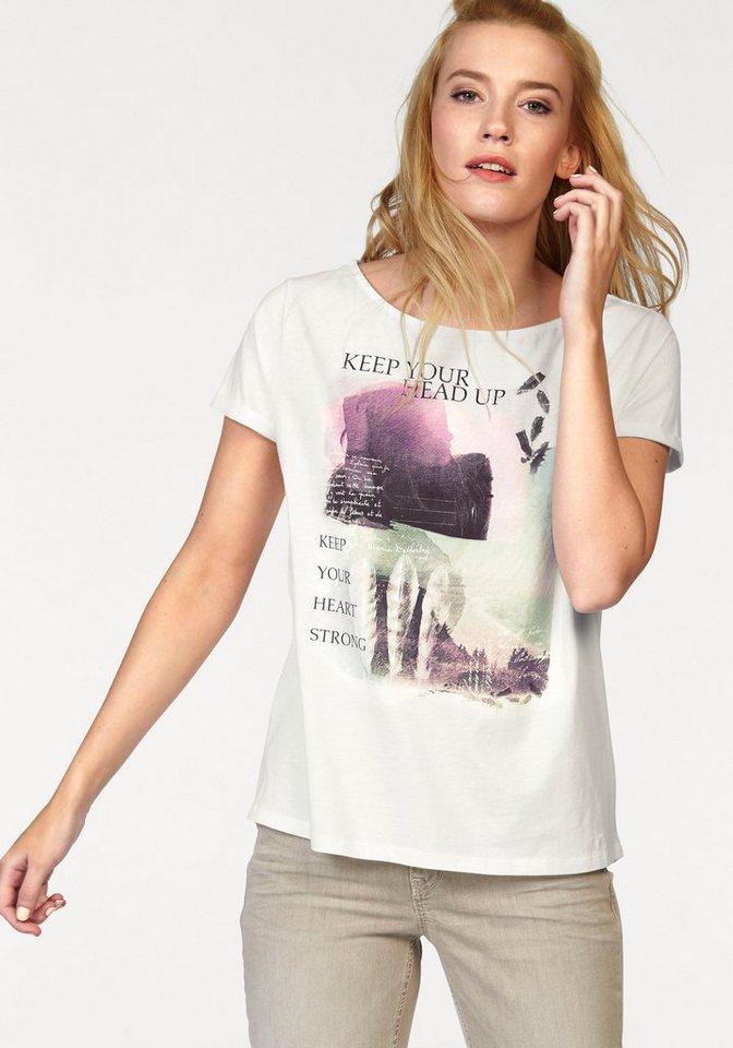 s.Oliver RED LABEL T-Shirt großer Frontprint in wollweiß-bedruckt