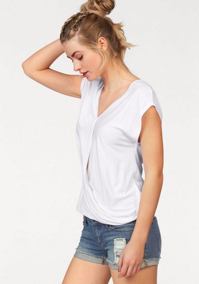 AJC V-Shirt in Wickel Optik in weiß