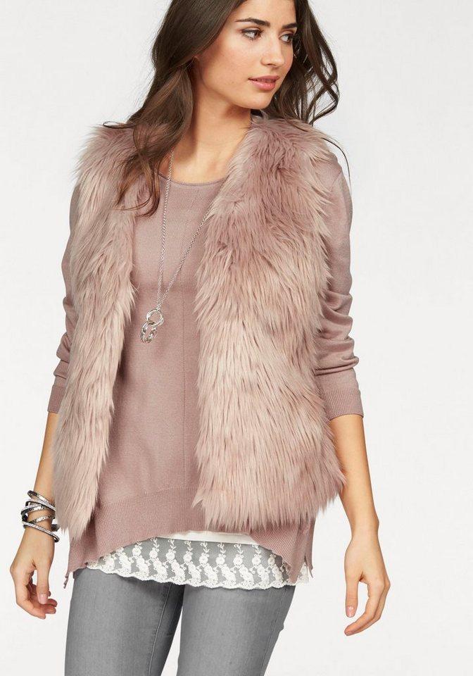 Boysen's Fellimitatweste im softem Pastell-Look in rosa
